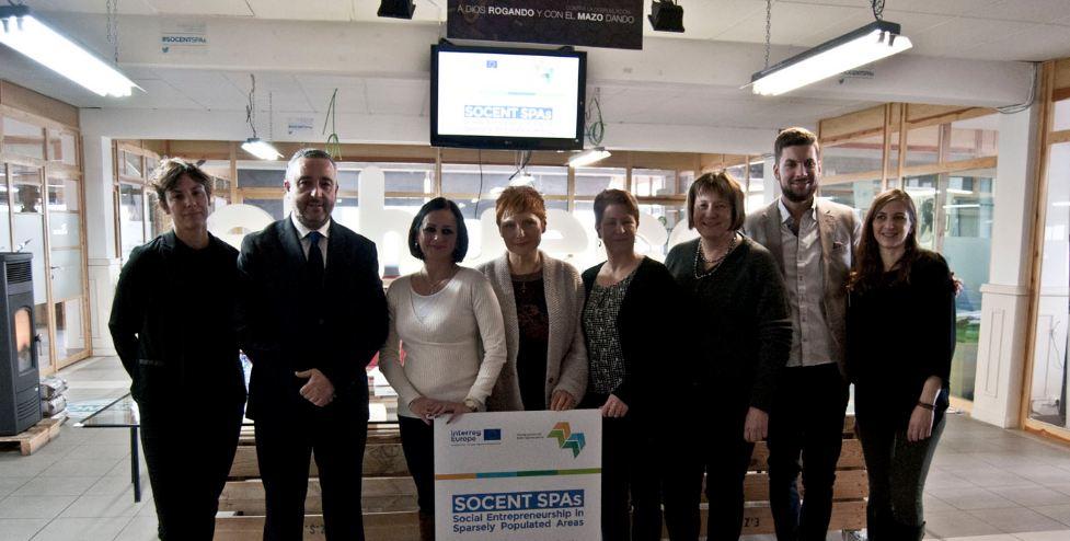 Representantes de España, Eslovaquia, Alemania y Laponia, durante la reunión de arranque del proyecto SocentSPA, celebrada en enero en Soria.