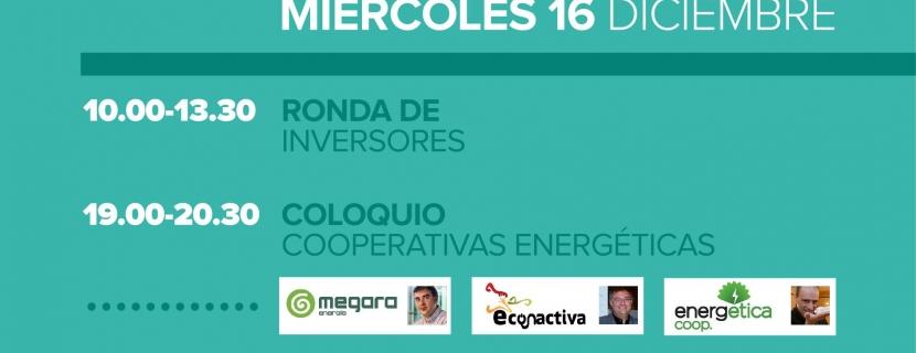 Ronda de inversores, con cinco proyectos, y coloquio sobre cooperativas energéticas, en la segunda jornada de la Feria de Economía Social